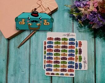 Hand drawn Kawaii Suitcase Stickers