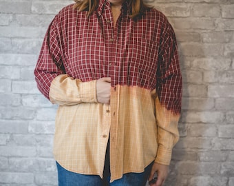 XL red and white plaid button up