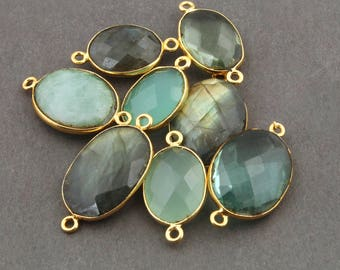 8 PCS  Mix Stone Faceted Oval Shape 24K Gold Plated Double Bail Connector- 23mmx13mm-29mmx15mm Bc262