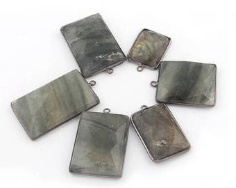 Valentine Day 6 Pcs Labradorite Oxidized Silver Plated Faceted Rectangle Shape Single Bail Pendant 25mm-41mm Bc-660