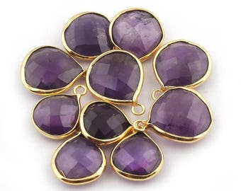 Valentine Day 10 Pcs  Amethyst 24k Gold Plated Faceted Heart Single Bail Pendant - 16mmx12mm-18mmx14mm BC487