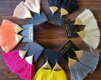 Triangle Fringe Duster Earrings by Genie Mack