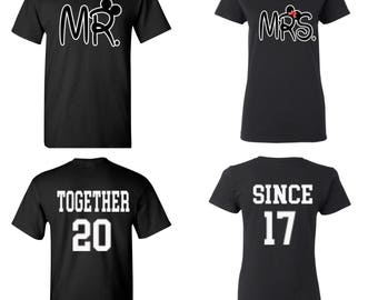 Matching Mr and Mrs Shirts~ Together Since Custom Year matching shirts Valentine's Day shirts