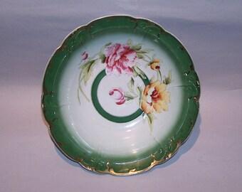 8540: Antique Three Crown China Serving Cabinet Bowl Germany Roses Gold Trim at Vintageway Furniture