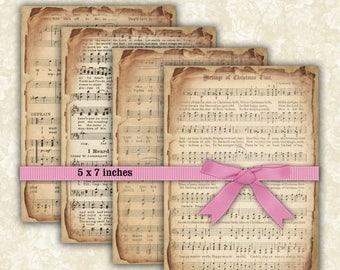 SALE 60% Vintage Music Sheet Paper Digital Collage Sheet Backgrounds Printable Download  Scrapbook