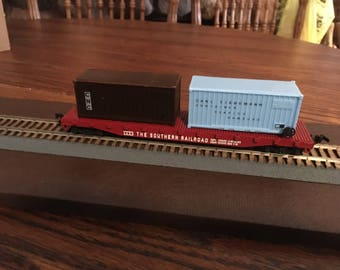 Vintage H O Scale Train Flat Car With 2 Containers Made By PMI Mint In The Box