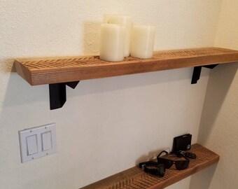 natural reclaimed barnwood floating shelves with black steel shelf shelves