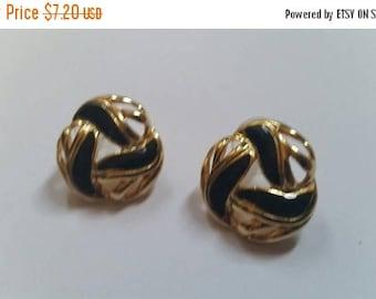 SALE Vintage Black Enamel Earrings Gold  Costume Jewelry
