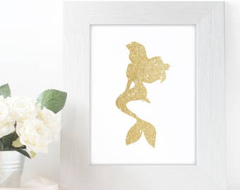 "Gold Glitter Ariel Little Mermaid Silhouette,  5x7"" 8x10"" incld., DIGITAL PRINTABLE File, Gold Sparkle Silhouette, Disney Princess Decor"