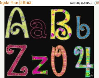 50 percent OFF SALE Instant Download  Machine Embroidery Designs APPLIQUE Fonts Upper Lower Case Pes Format only