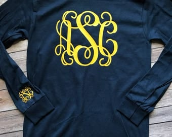 Long Sleeve Monogrammed Tshirt with Wrist Monogram, Youth and Adult