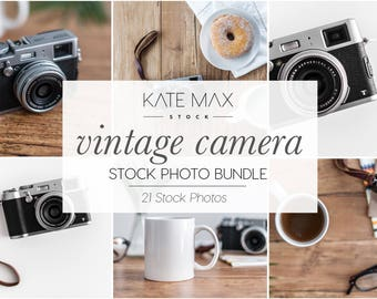 Vintage Camera Stock Photo Bundle / Styled Stock Photos / 21 KateMaxStock Lifestyle Branding Images for Your Business