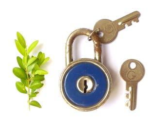 Blue round with 2 keys DELTA vintage padlock steel - old small lock mid 20th century - industrial style rustic decor, loft