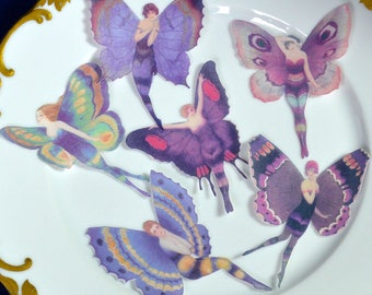 Edible Purple Flapper Butterfly Fairies Amethyst Plum Fairy Butterflies Wings Wafer Paper Wedding Cake Cupcake Cookie Toppers 1920 Pixie