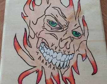 Woodburning Plaque Demon Fire
