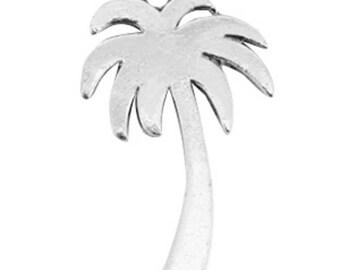 """Metal Pendant """"Palm""""-2 pcs.-35 x 21 mm-Antique Silver"""