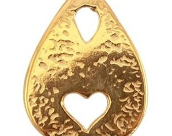 DQ Metal pendant-1 piece heart, drop shape-25 x 18.5 mm-Color selectable (color: Gold)