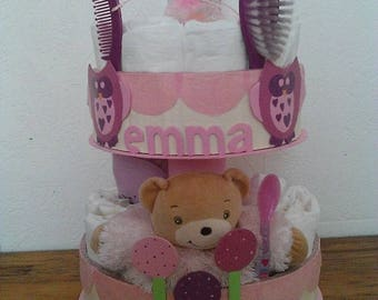 """Sweet owls"" diaper cake for girl"
