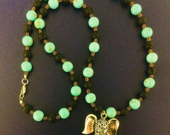 Natural Lava and Turquoise with Elephant Necklace