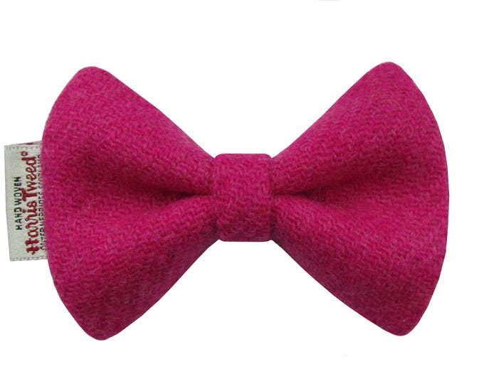 Harris Tweed Fuchsia Pink Designer Dog Bow Tie
