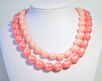 Vintage Pink Lucite Beaded Double Multi Strand Gold Plated Clasp Necklace