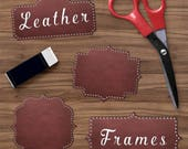 Leather Borders Clipart, Leather Frames, Leather Rivets, Brown Border Clip Art, Brown Leather Tags, Instant Download, BUY5FOR8
