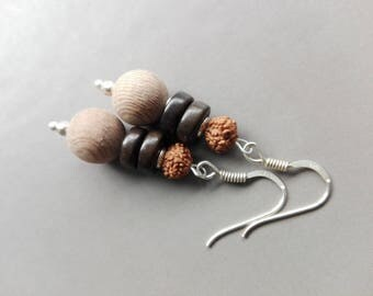 Earrings ebony, rosewood, seeds and sterling silver