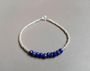Lapis lazuli bracelet and silver / / thin and minimalist