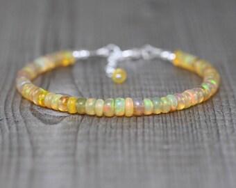 Ethiopian Welo Opal Bracelet in Sterling Silver, Gold or Rose Gold Filled. Flashy AAAA Gemstone Beaded Bracelet. Stacking Layering Jewelry