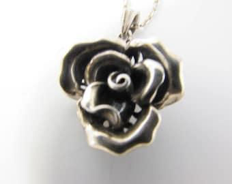 Vintage Silver Rose Pendant