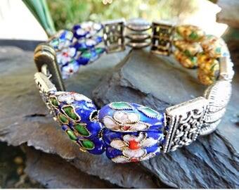 Magnetic bracelet, blue silver bracelet, chic bracelet, wedding, ceremony, women gift, memory jewelry ghilou bracelet bracelet bracelet