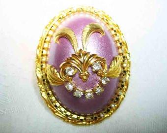 Vintage Lavender Enamel & Rhinestone Egg Brooch or Pendant
