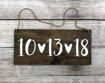 "Personalized Rustic Hand Painted Wood Wedding Date Sign - Save the Date Sign - Wedding Photo Prop - 12""x5.5"" Dark Walnut or Gray"