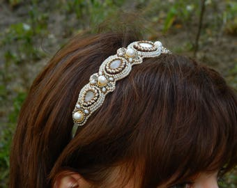 Beige gold headband Beaded headband Bead embroidered Wedding headband Beaded embroidery Wedding headpiece Hair accessories Women headband