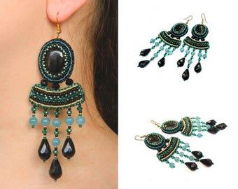 Oriental earrings Bead embroidered earrings Aquamarine black dangle earrings Beaded embroidery earrings Beadwork earrings Cabochon earrings