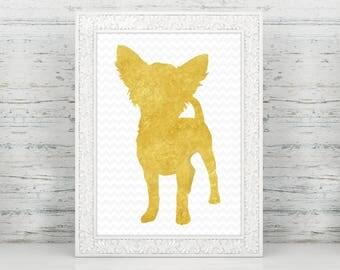 Faux Gold Foil Chihuahua Art Print, Chihuahua Art,  Chihuahua Nursery, Chihuahua Home Decor, Chihuahua Gifts, Chihuahua Lover, Chihuahua Mom
