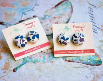 Button Earrings Liberty Floral Fabric Earrings Colorful Earrings Floral Earrings Everyday Earrings Dainty Earrings Gift for Her