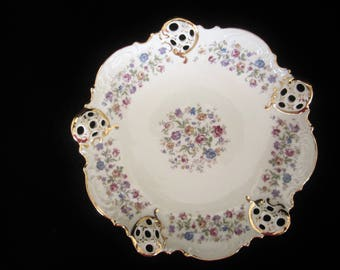 R. C. Elfenbein Rosenthal Moliere Porcelain Dish - made in Kronach Germany.  Multi-colored floral design. Circa 1901-1933. Collectible Gift!