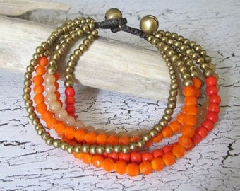 Pearl bracelet with shimmering Crystal beads and little bells * hippie boho Festival style * Beach look * orange gold