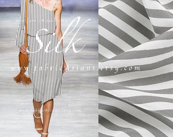 Grey White Striped Silk Crepe Fabric by the yard