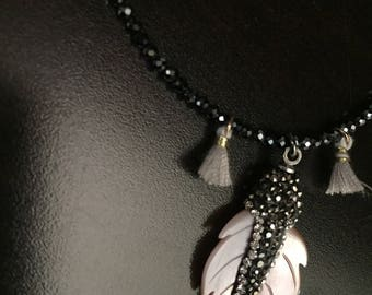 Black spinel necklace with leave shaped charm