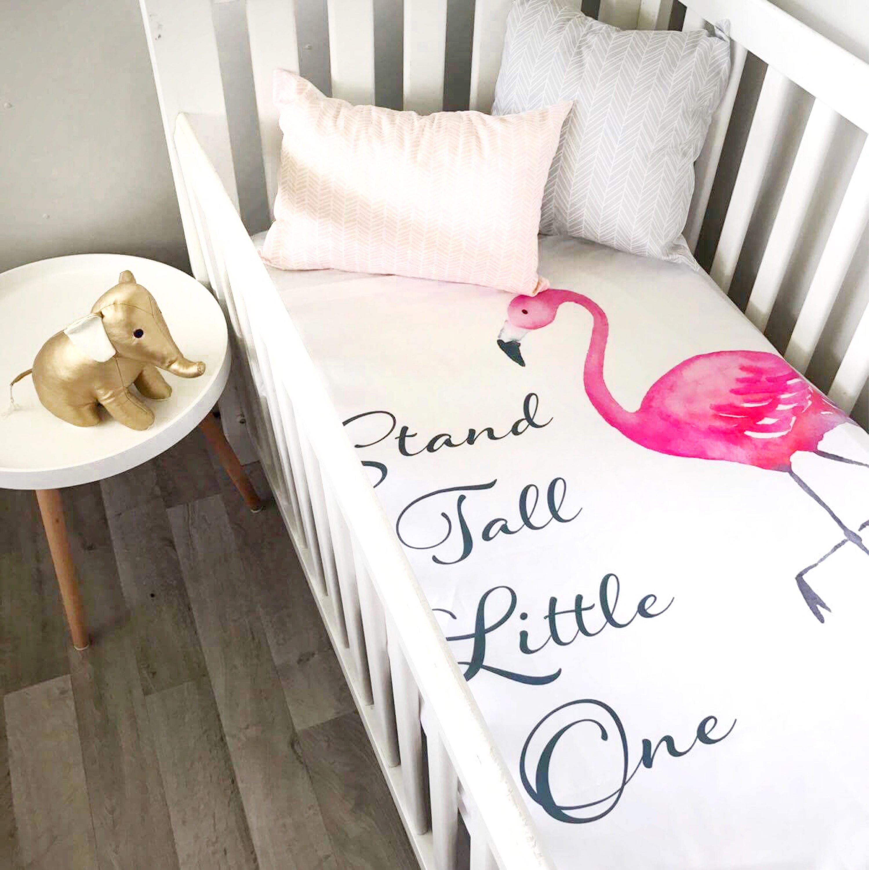Baby Cot Crib Quilt Blanket Flamingo Pink Stand Tall Baby