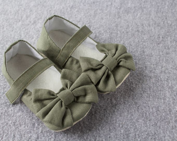 Khaki Green Mary Jane soft sole baby girl shoes, with over sized bow