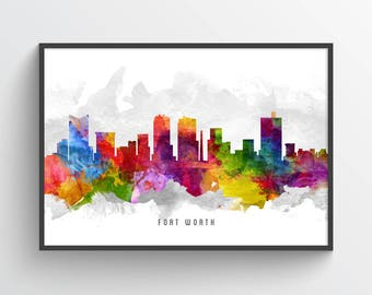 Fort Worth Skyline Poster, Fort Worth Cityscape, Fort Worth Print, Fort Worth Art, Fort Worth Decor, Home Decor, Gift Idea, USTXFW13P
