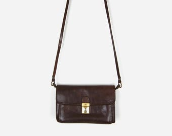 Vintage Dark Brown Leather Messenger Bag, Cross Body Bag | The Trend Small Satchel Purse, Handbag in Chocolate | Women Fashion