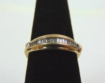 Womens Vintage Estate 10K Yellow Gold Diamond Ring 2.5g E3251
