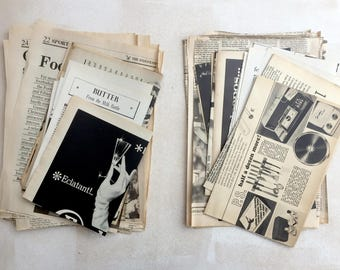 Newspaper and magazine pieces: vintage pages paper ephemera pack. 21 pieces of black and white pieces. Art supply.
