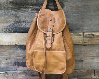 Vintage Backpack Brown Leather