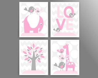 Girl nursery art pink grey nursery wall art printable nursery decor girl digital nursery art prints elephant giraffe (543set810)(n015)