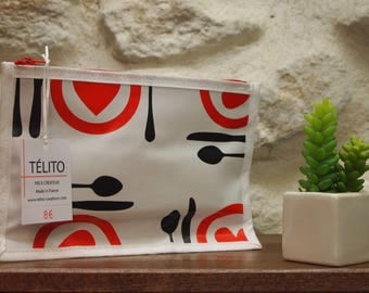 Fork red, black and white oilcloth pouch